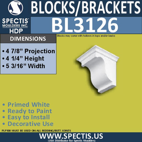 "BL3126 Eave Block or Bracket 5.18""W x 4.25""H x 4.87""P"