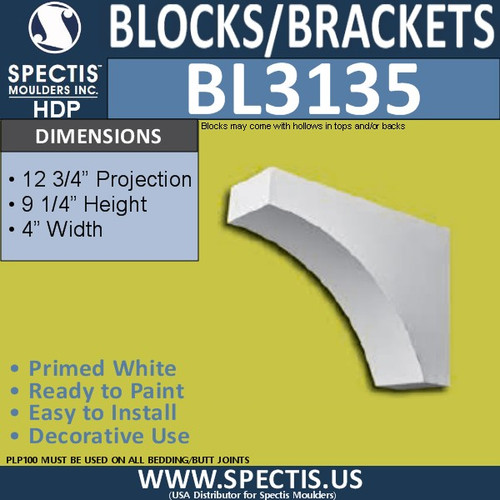 "BL3135 Eave Block or Bracket 4""W x 9.25""H x 12.75""P"