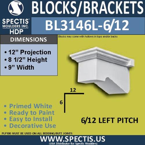 """BL3146L-6/12 Pitch Eave Block or Bracket 9""""W x 8.5""""H x 12""""P"""