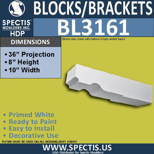 "BL3161 Eave Block or Bracket 10""W x 8""H x 36""P"