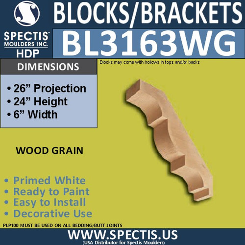 "BL3163WG Wood Grain Eave Bracket 6""W x 24""H x 26""P"