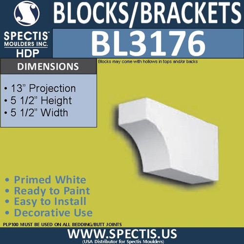 "BL3176 Eave Block or Bracket 5.5""W x 5.5""H x 13""P"