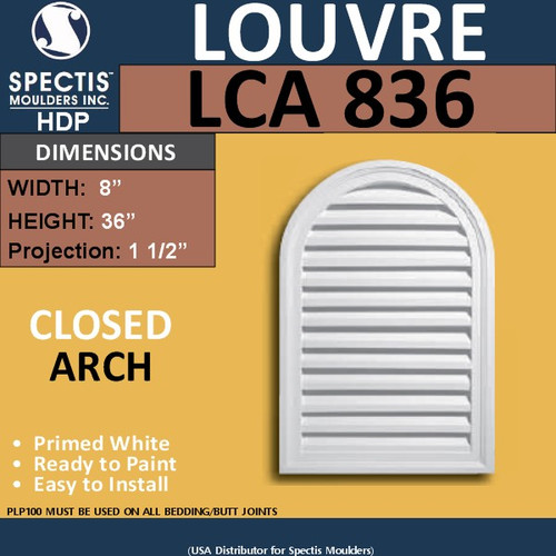 LCA836 Arch Top Gable Louver Vent - Closed - 8 x 36