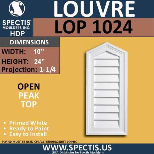 LOP1024 Peak Top Open Vent Louver 10 x 24
