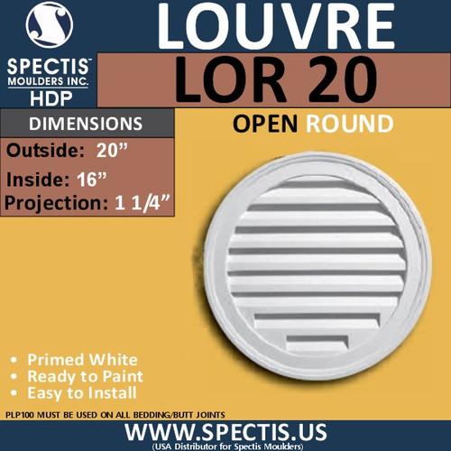 """LOR20 Round Gable Louver Vent - Open - 20"""" Diameter"""