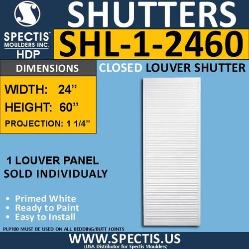 SHL-1 2460 Polyurethane Shutter 1 Closed Louver 24 x 60