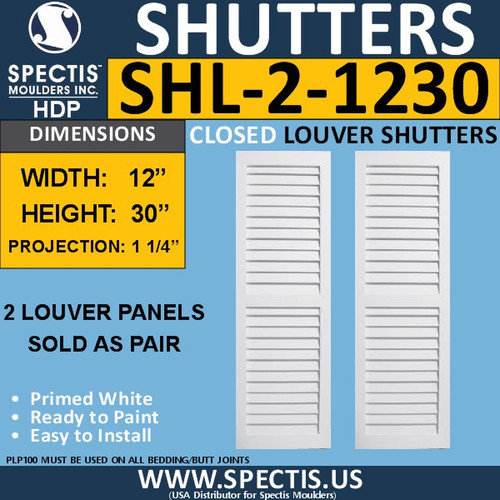 SHL-2 1230 2 Panel Closed Louver Shutters 12 x 30