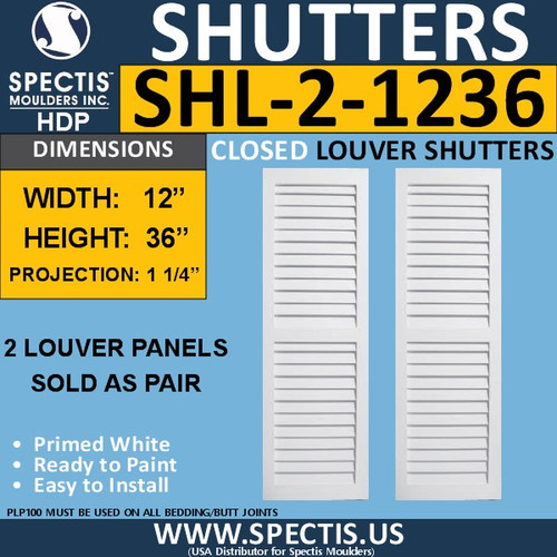 SHL-2 1236 2 Panel Closed Louver Shutters 12 x 36
