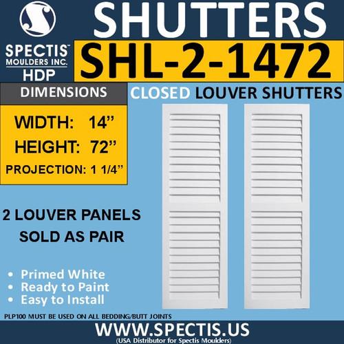 SHL-2 1472 2 Panel Closed Louver Shutters 14 x 72
