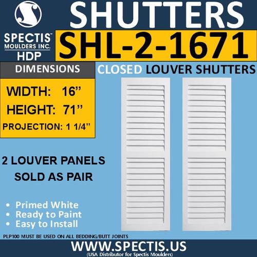 SHL-2 1671 2 Panel Closed Louver Shutters 16 x 71