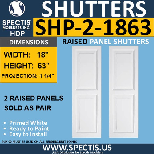 SHP-2 1863 Polyurethane Shutters - 2 Raised Panels 18 x 63