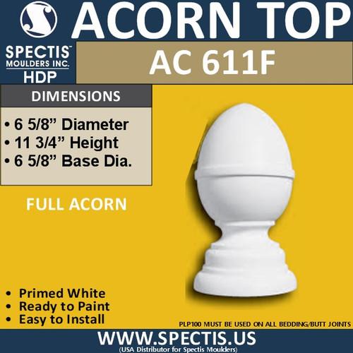 """AC611F Spectis Urethane Acorn Post Cap 6-5/8"""""""