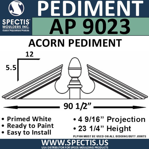 "AP9023 Acorn Pediment for Window/Door 90 1/2"" x 23 1/4"""
