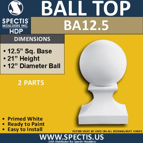 """BA12.5 Spectis 12"""" Ball on Pedestal for Newel Post 12.5"""" Base"""