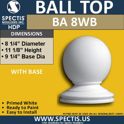 "BA8WB Urethane Ball Cap with Base 8 1/4"" Wide"