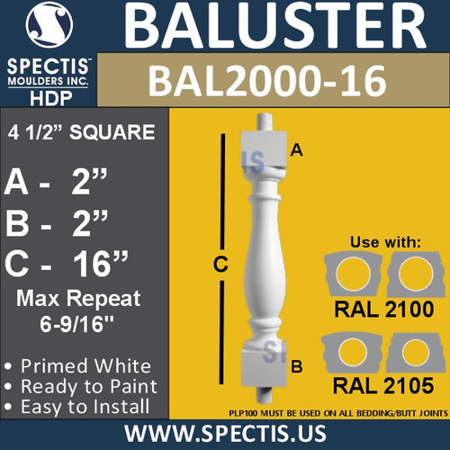 "BAL2000-16 Urethane Baluster or spindle  4 1/2""W X 16""H"