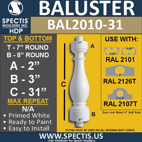 """BAL2010-31 Urethane Baluster or Spindle 7""""W X 31""""H"""