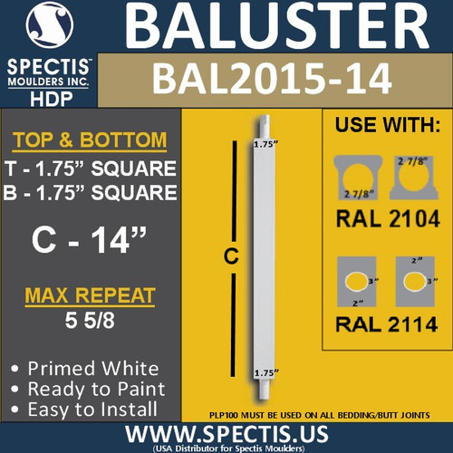 "BAL2015-14 Urethane Baluster or Spindle 1 3/4""W X 14""H"