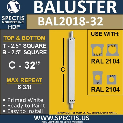 "BAL2018-32 Urethane Baluster or Spindle 2 1/2""W X 32""H"