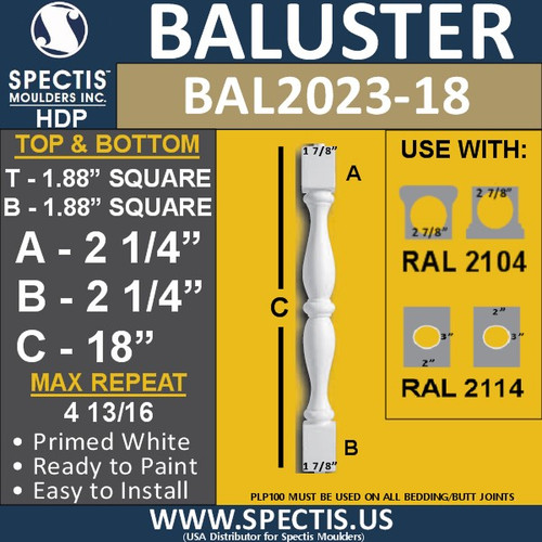 """BAL2023-18 Urethane Baluster or Spindle 1 7/8""""W X 18""""H"""