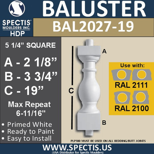 "BAL2027-19 Urethane Baluster or Spindle 5 1/4""W X 19""H"