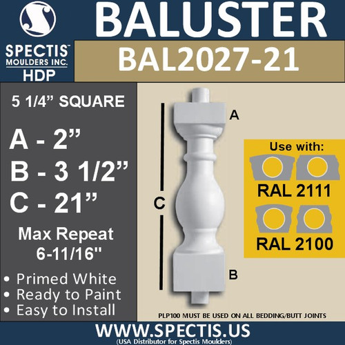 "BAL2027-21 Urethane Baluster or Spindle 5 1/4""W X 21""H"