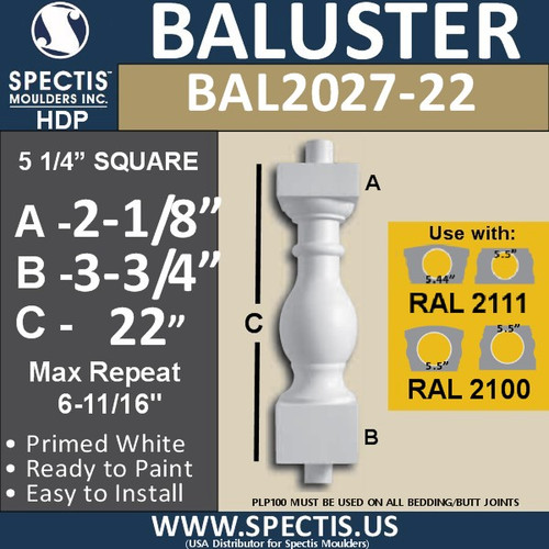 """BAL2027-22 Urethane Baluster or Spindle 5 1/4""""W X 22""""H"""