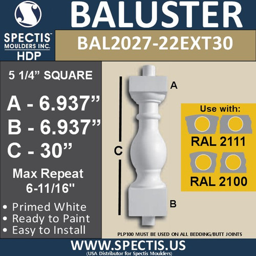 """BAL2027-22EXT30 Urethane Extended Baluster 5 1/4""""W X 30""""H"""