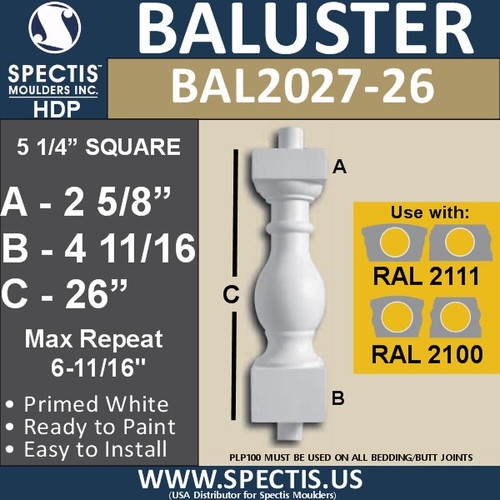 "BAL2027-26 Urethane Baluster or Spindle 5 1/4""W X 26""H"