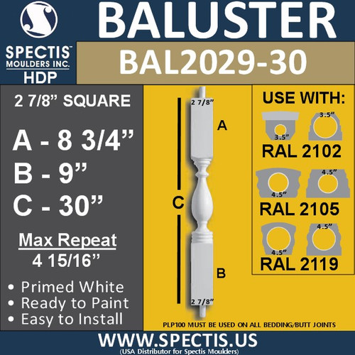 """BAL2029-30 Urethane Baluster or Spindle 2 7/8""""W X 30""""H"""