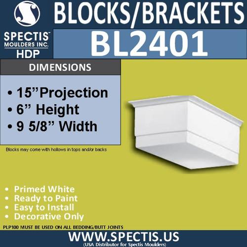 "BL2401 Corbel Block or Eave Bracket 9.25""W x 6""H x 15"" P"