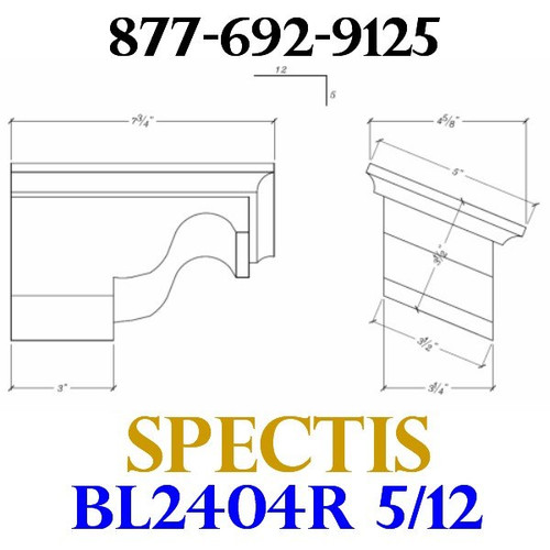 "BL2404R-5/12 Pitch Corbel or Eave Bracket 5""W x 3.5""H x 7.75"" P"