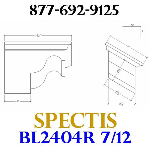 "BL2404R-7/12 Pitch Corbel or Eave Bracket 5""W x 3.5""H x 7.75"" P"