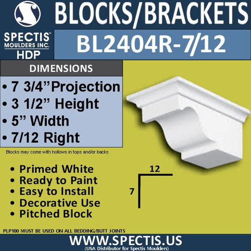 "BL2404R-7/12 Pitch Eave Bracket 5""W x 3.5""H x 7.75"" P"