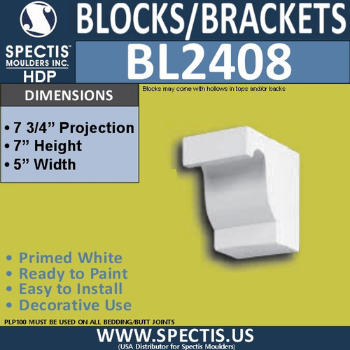 "BL2408 Eave Block or Bracket 5""W x 7""H x 7.75"" P"