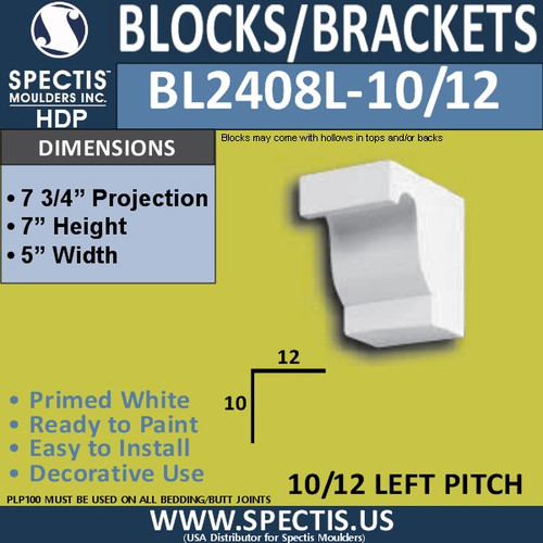 "BL2408L-10/12 Pitch Eave Bracket 5""W x 7""H x 7.75"" P"