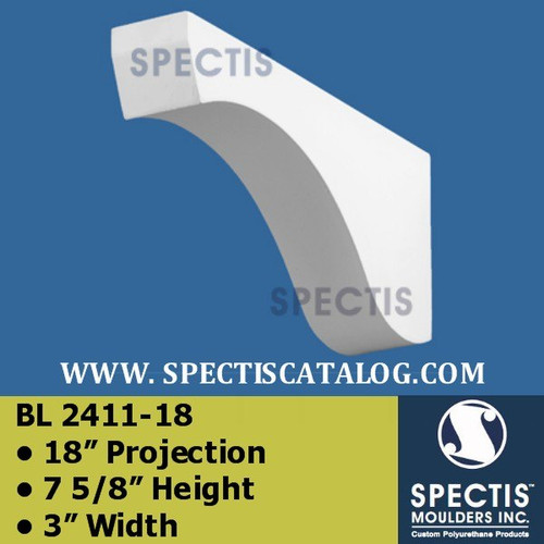 "BL2411-18 Corbel Block or Eave Bracket 3""W x 7.75""H x 18"" P"