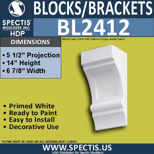 "BL2412 Eave Block 5 1/2""P x 14""H 6 7/8""W"