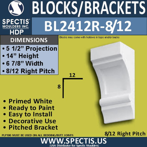 "BL2412R-8/12 Pitch Eave Bracket 7""W x 14""H x 5.5"" P"
