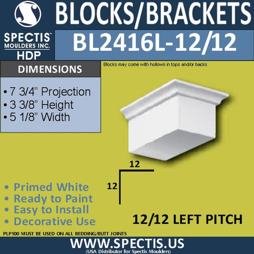 "BL2416L-12/12 Pitch Eave Block 5""W x 3""H x 8"" P"