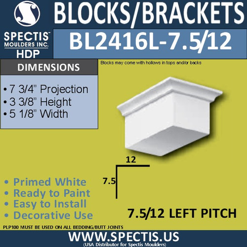 "BL2416L-7.5/12 Pitch Eave Block 5""W x 4""H x 8"" P"