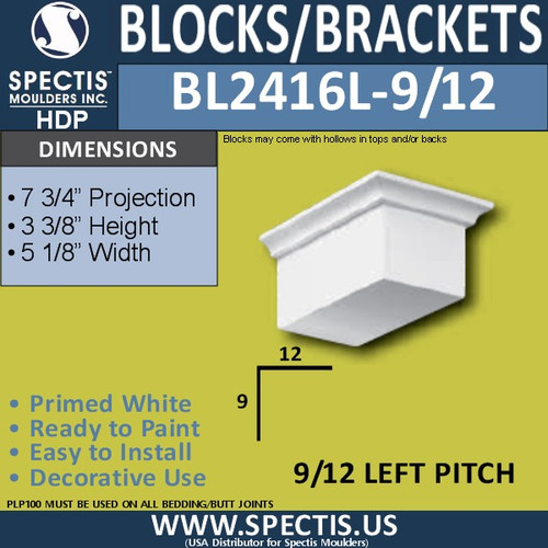 "BL2416L-9/12 Pitch Eave Block 5""W x 4""H x 8"" P"