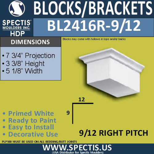 "BL2416R-9/12 Pitch Eave Block 5""W x 4""H x 8"" P"
