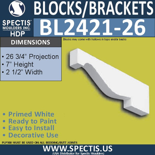 "BL2421-26 Eave Block or Bracket 2.5""W x 7""H x 26.75"" P"