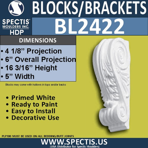 "BL2422 Spectis Block or Bracket 5""W x 16""H x 6"" P"