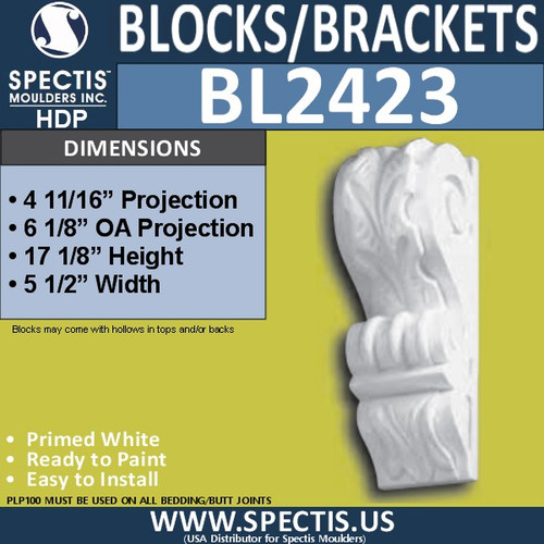 "BL2423 Eave Block or Bracket 5.5""W x 17""H x 6.25"" P"