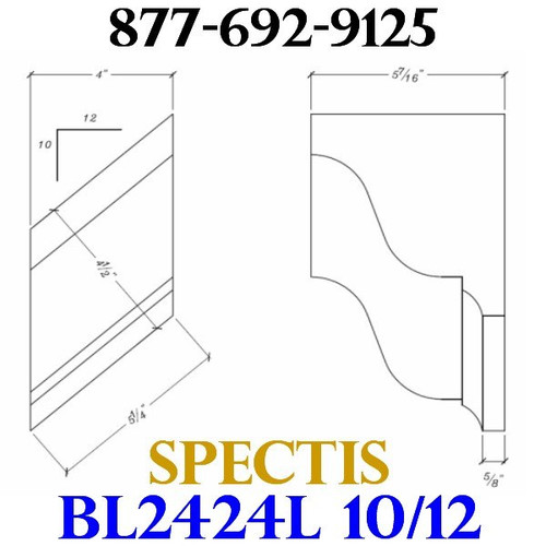 "BL2424L-10/12 Pitch Corbel Block or Bracket 4""W x 6""H x 6"" P"