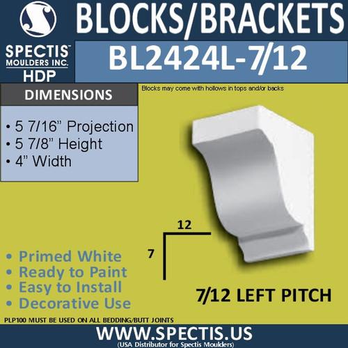 "BL2424R-7/12 Pitch Eave Block 4""W x 6""H x 6"" P"