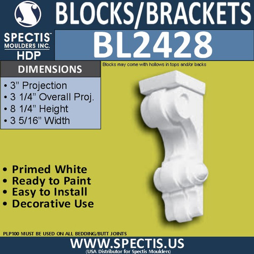 "BL2428 Eave Block or Bracket 3.5""W x 8.75""H x 3.5"" P"