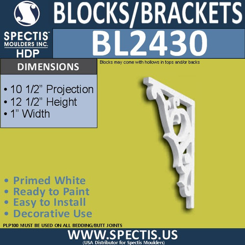 "BL2430 Eave Block or Bracket 1""W x 12.5""H x 10.5"" P"
